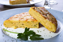 Tortilla espanola. Spanish omelette with potatoes and onion, typical Spanish cuisine / Tortilla espanola royalty free stock photos