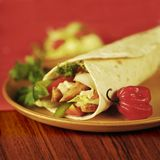 Tortilla Filled with Vegetables and Meat Royalty Free Stock Images