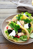 Tortilla with fish and vegetables Stock Images