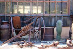 Tortilla Flat Town. Antique equipment from Tortilla Flat town a small unincorporated community in the Arizona desert royalty free stock photo