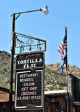 Tortilla Flat Town. Sign from Tortilla Flat town a small unincorporated community in the Arizona desert Royalty Free Stock Image