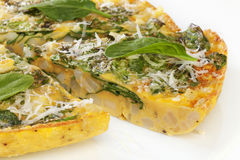 Tortilla or Frittata with Potato and Spinach Stock Image