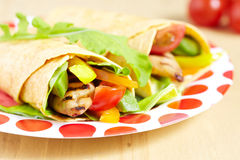 Tortilla with grilled chicken Royalty Free Stock Images