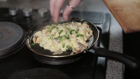 Tortilla, huevos, comida, cocinando, cocina, cacerola