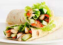 Tortilla kurczaka opakunki Fotografia Stock
