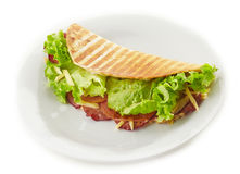 Tortilla with lettuce and smoked meat Stock Photos