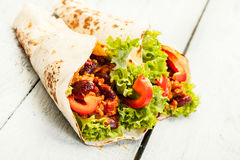 Tortilla with meat and beans Stock Photography