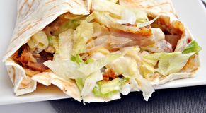 Tortilla with meat and salad Stock Photography