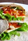 Tortilla met kaas en groene salade Royalty-vrije Stock Foto's