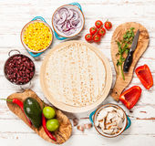 Tortilla with a mix of ingredients Stock Image