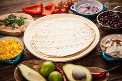 Tortilla with a mix of ingredients Stock Photos