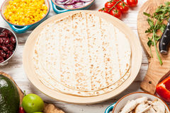 Tortilla with a mix of ingredients Royalty Free Stock Photography