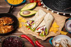 Tortilla with a mix of ingredients Stock Images