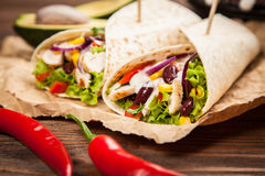 Tortilla with a mix of ingredients Royalty Free Stock Images