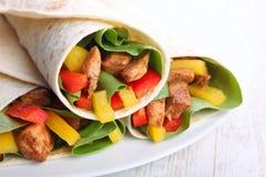 Tortilla opakunki z mięsem i warzywami Zdjęcia Royalty Free