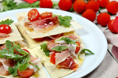 Tortilla with Parma ham Stock Images