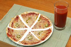 Tortilla Pizza and Juice Royalty Free Stock Images