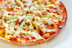Tortilla Pizza with mozzarella cheese, imitation crab stick, swe Royalty Free Stock Photography