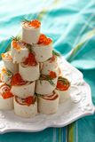 Tortilla roll up with salmon and cheese Stock Photography