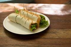 Tortilla roll-ups with ham, cheese, and vegetables Royalty Free Stock Images