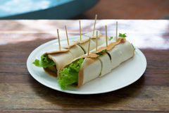 Tortilla roll-ups with ham, cheese, and vegetables Royalty Free Stock Photography