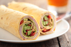 Tortilla roll-ups with ham and vegetables Royalty Free Stock Image