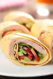 Tortilla roll-ups with ham and vegetables Royalty Free Stock Photos