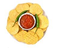 Tortilla's en salsa stock afbeeldingen
