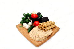 Tortilla's, Taquitoes en Veggies stock foto's