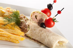 Tortilla sandwich wraps with tuna Stock Photo