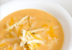 Tortilla soup. Close up of a warm bowl of spicy tortilla soup Royalty Free Stock Photography