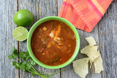 Tortilla Soup with Chips and fresh lime Royalty Free Stock Images