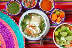 Tortilla soup and mexican chili habanero sauces Royalty Free Stock Photography