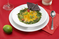 Tortilla Soup setting. Tortilla Soup place setting on red Royalty Free Stock Images