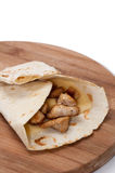 Tortilla stuffed with chicken white meat and tartar sauce Stock Images