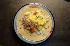 Tortilla taco obiadowy talerz na kuchennym stole Zdjęcie Stock