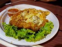 Tortilla tailandesa de la ostra del estilo foto de archivo