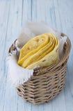 Tortilla in wicker basket Royalty Free Stock Image
