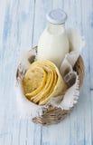 Tortilla in wicker basket Stock Images