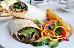 Tortilla Wrap. Healthy tortilla wrap with hashbrown and salad Royalty Free Stock Photography