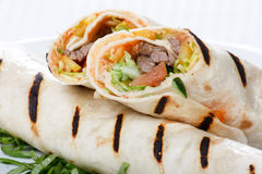 Tortilla Wrap Cut in Half Royalty Free Stock Image