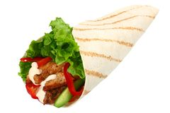 Tortilla wrap with fried chicken meat and vegetables isolated on white background. fast food royalty free stock image