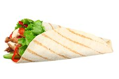Tortilla wrap with fried chicken meat and vegetables isolated on white background. fast food stock photo