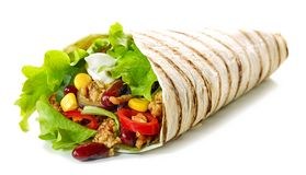 Tortilla wrap with fried minced meat and vegetables royalty free stock photography