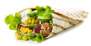 Tortilla wrap with fried minced meat and vegetables stock image