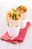Tortilla wrap with vegetable Stock Photo