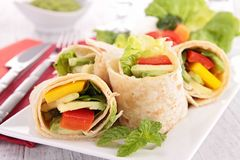 Tortilla wrap with vegetable Stock Photos