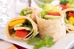Tortilla wrap with vegetable Stock Photos
