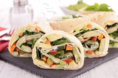 Tortilla wrap with vegetable Royalty Free Stock Images