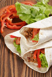 Tortilla wraps with beef and vegetables Royalty Free Stock Photos